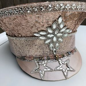 Rose Gold Pink Military Captain's Hat